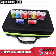 60 Bottles Diamond Painting Box Tool Container Storage Carry Case Holder Hand Bag Zipper Design 15/30