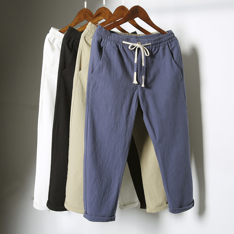 Men's China Style Casual Pants Natural Breathable Cotton Linen Trousers White Linen Elastic Waist Straight Joggers Pants