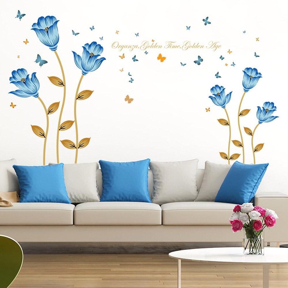 US $5.36 5% OFF|Blau blumen 3D wandsticker romantik dekoration wand  wohnkultur DIY baby wallpaper für kinderzimmer tür aufkleber decor-in ...