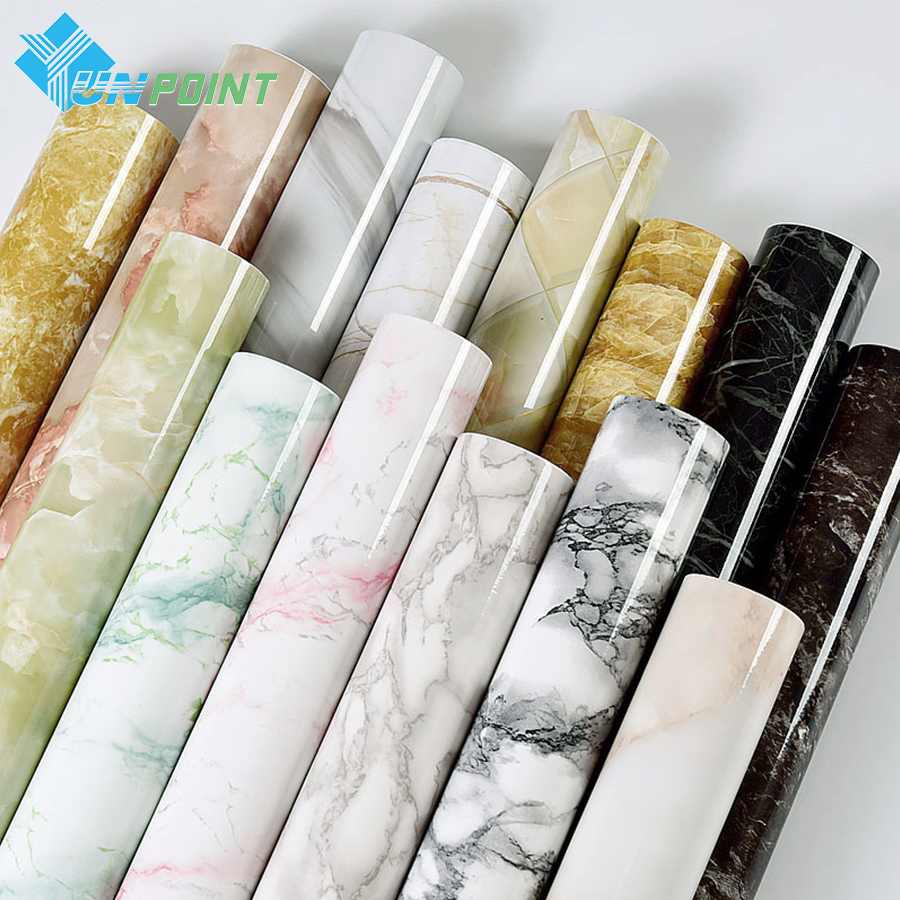 Self <font><b>adhesive</b></font> Marble Vinyl Wallpaper Roll Furniture Decorative Film Waterproof Wall Stickers for Kitchen Backsplash Home Decor