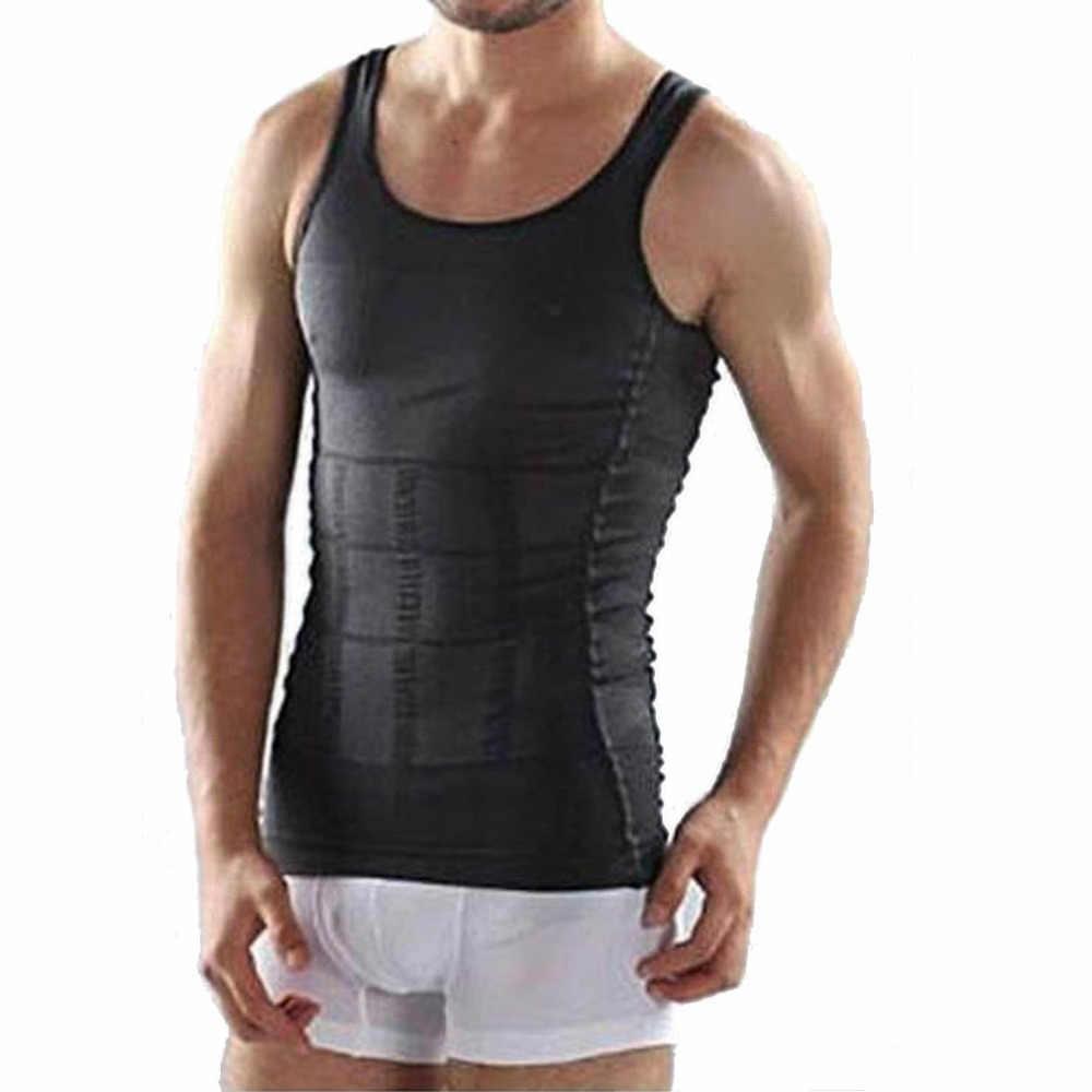 男性コルセットボディ痩身おなかシェイパーベストベリーウエストガードルシャツ黒ボディニッパー下着ウエストスリムボディトップ販売