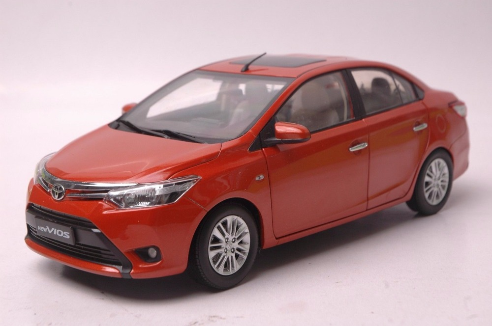 1:18 Diecast Model For Toyota Vios 2013 Orange Alloy Toy Car Miniature Collection Gift