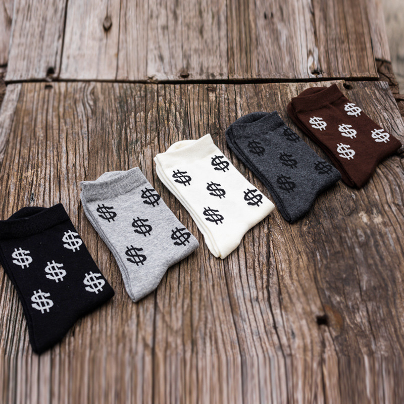 New Autumn Men Novelty Men's Long Cotton Socks Harajuku Money Dollar Patterned  Funny Cartoon  Pure Cotton  Black White