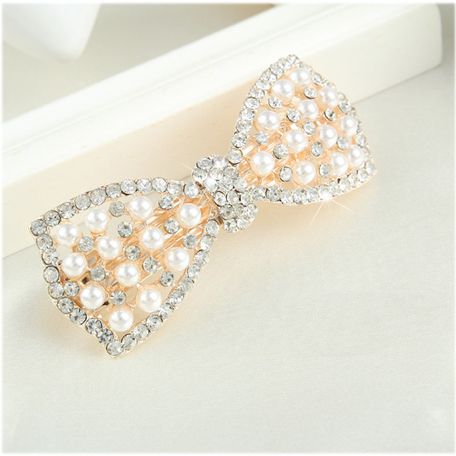 Cute Bow Hair Clip with Crystals and Imitation Pearls