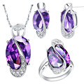 MEGREZEN Wedding Bridal Purple Red Jewelry Set Fashion Necklaces For Women 2016 Austrian Crystal Jewlery Sets With Ring D001