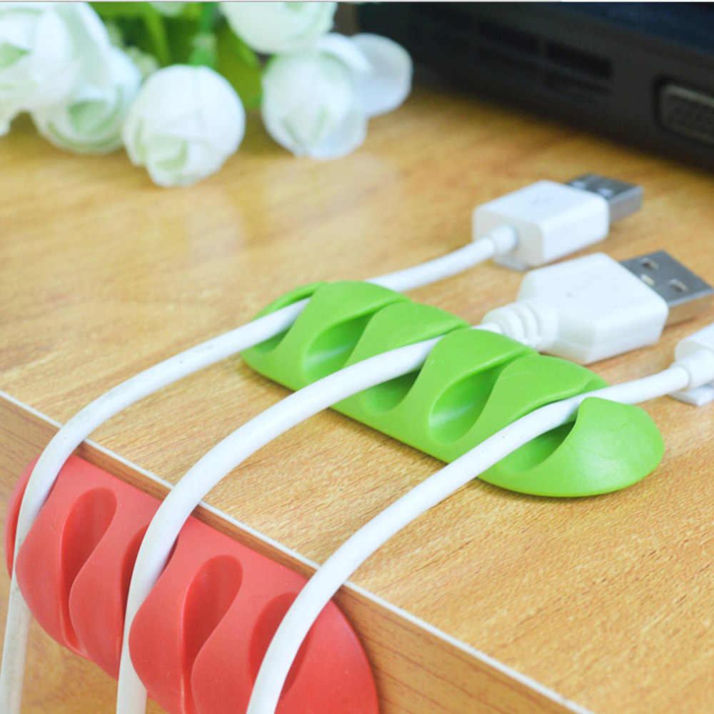 5 Порты намотки кабеля наушников Desktop Кабельный организатор хранения провода кремния Зарядное устройство кабель аудио кабель