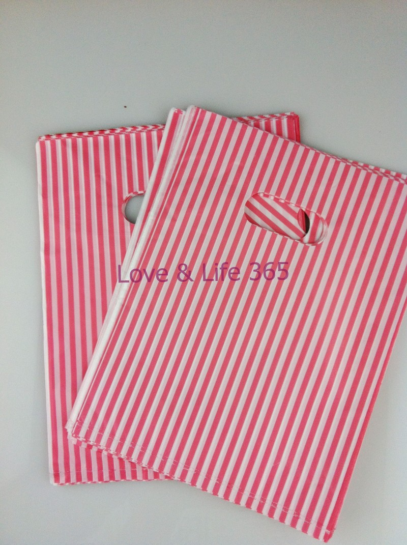 Wholesale 25*35cm Plastic Shopping Clothes Packing Bags, Lovely Pink Stripe Design Shopping Gift Bags 100pcs/lot Free Shipping