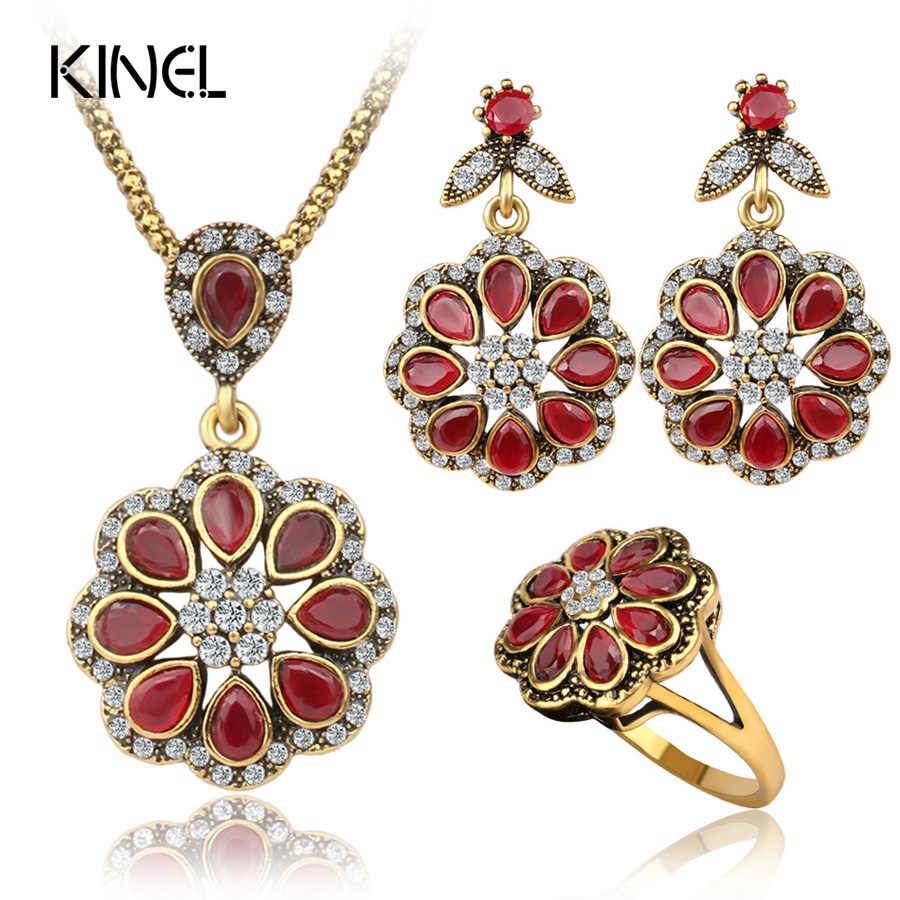 Luxury Fashion Red Petal Type Nigerian Wedding African Beads Gold Color Vintage Jewelry Sets For Women 3PCS
