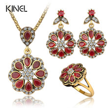 Luxury Fashion Red Petal Type Nigerian Wedding African Beads Gold Color Vintage Jewelry Sets For Women 3PCS(China)