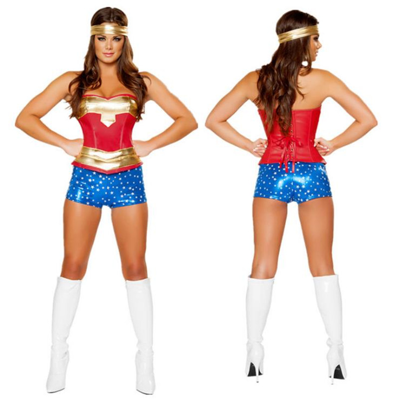 BOOCRE Anime All Star Comics Cosplay Wonder Woman Costumes Sets Women Clothing ( corset + Shorts + Headdress )