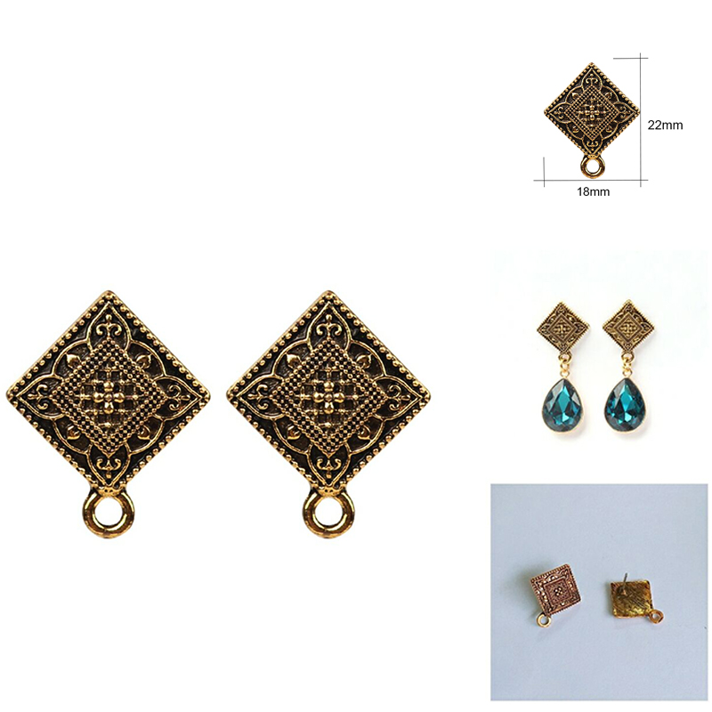 18*22mm Alloy Stud Earrings Accessories Retro Gold Square Shape Earring Base Earring Connector For DIY Earrings Accessories pair of stylish rhinestone alloy stud earrings for women