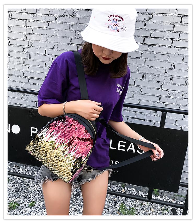 Backpacks women Korean mini 2018 new sequined shell fashion trend women go with small backpacks travel backpack 75