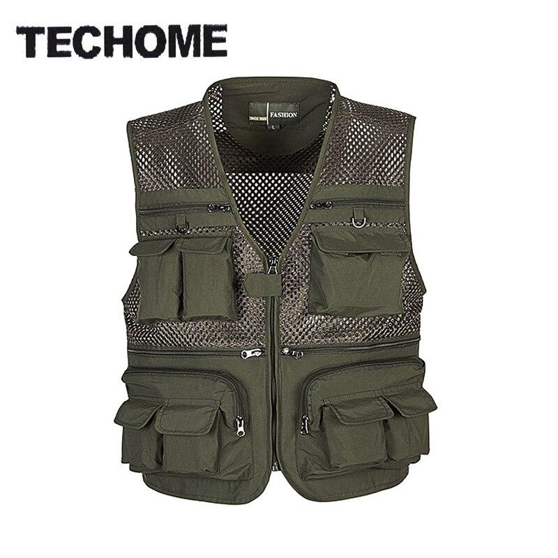 2018 Summer New Brand Outdoors Travels esporte Vest Tops Mesh Men Vest Plus Size L-4XL Photographer Vests Multi Pockets Jacket