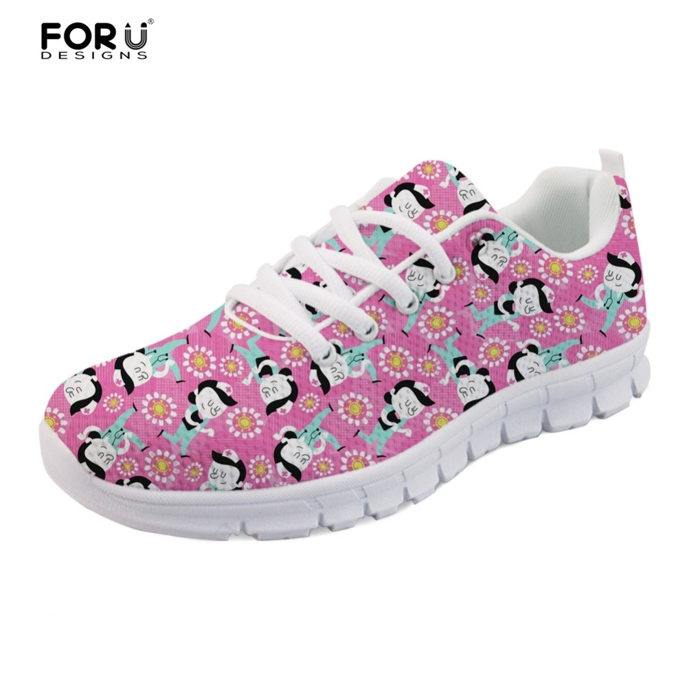 FORUDESIGNS Pink Women Cute Nurse Pattern Leisure Shoes Flats Female Flower Style Casual Women's Sneakers Ladies Light Mesh Shoe instantarts fashion girls spring autumn flats shoes cute havanese flower pattern female mesh flats shoes casual light sneakers