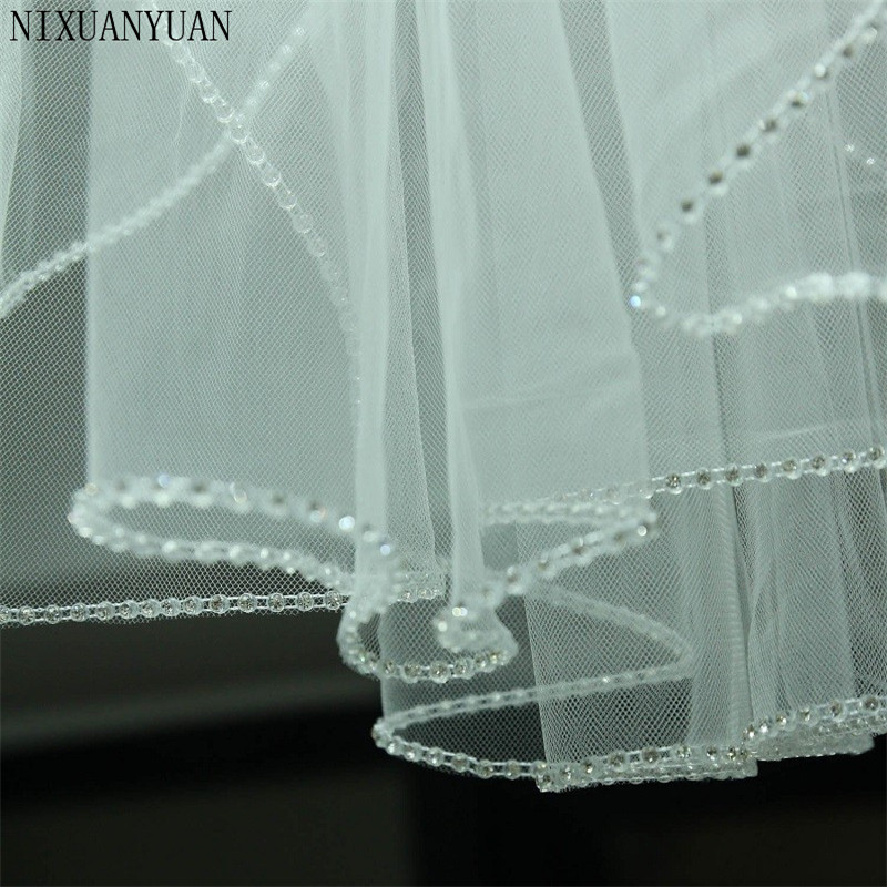 In Stock Wedding Accessory Short Crystal Edge Wedding Veil White Ivory Custom Made Length 1 Tier Bridal Veil With Metal Comb