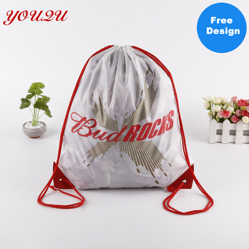 Customize Large Polyester Bag Printing Drawstring Bag Own Logo Welcome