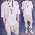 Verano de gran tamaño camiseta homme Japonés retro simple llano limpio media manga sólido camiseta delgada Transpirable suelta Camisa de Lino de los hombres