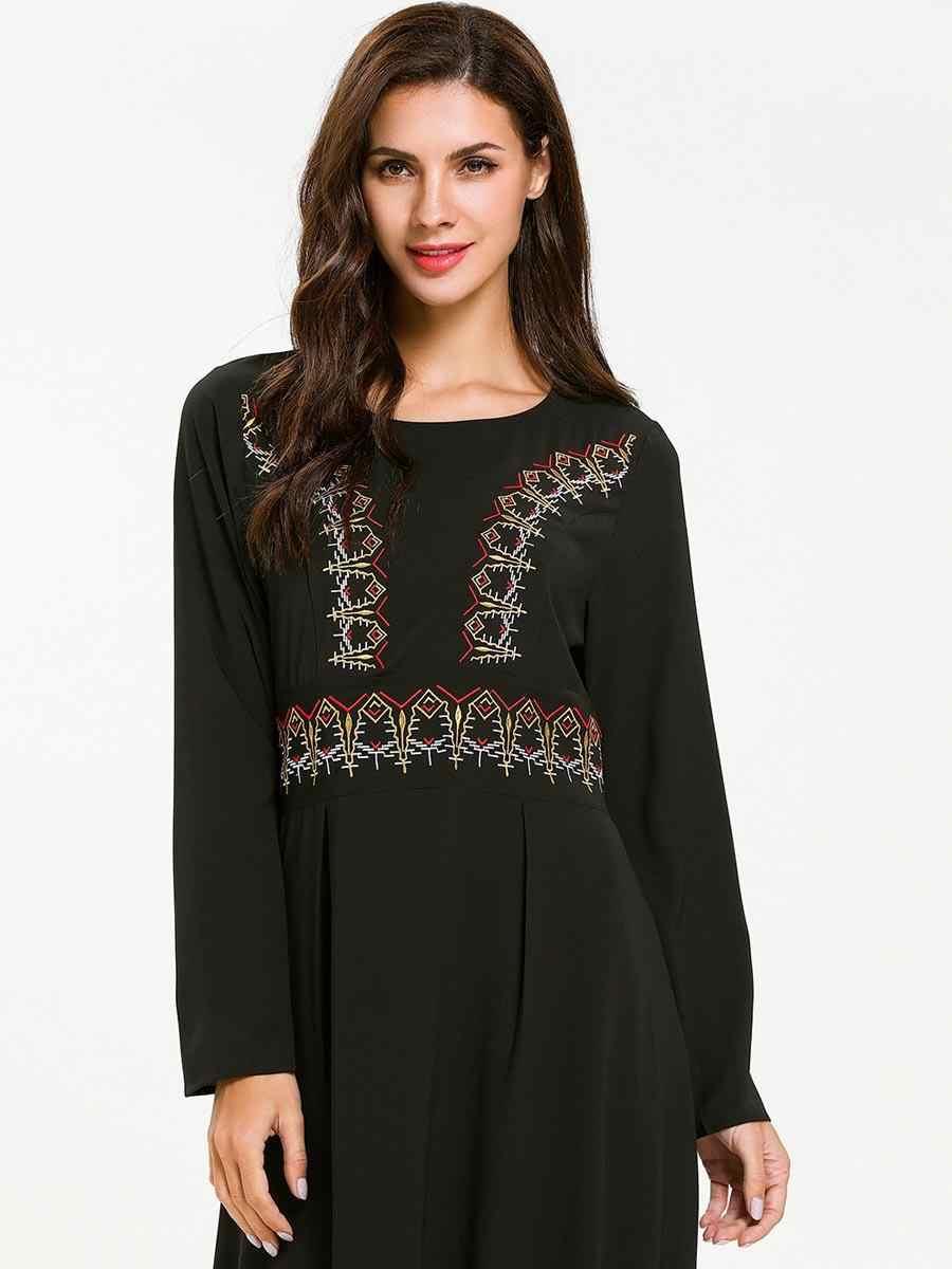 העבאיה דובאי קפטן רקמת שחור ארוך שמלת נשים מוסלמי שמלת חלוק מסיבת שמלת ערבי O-צוואר טורקיה איחוד האמירויות שמלות הרמדאן אופנה
