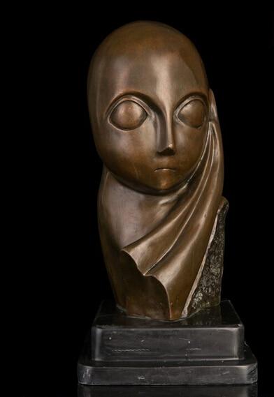 Bi003720 Western Abstract Art Sculpture Bronze Copper Marble Base Figure Statue Figurine