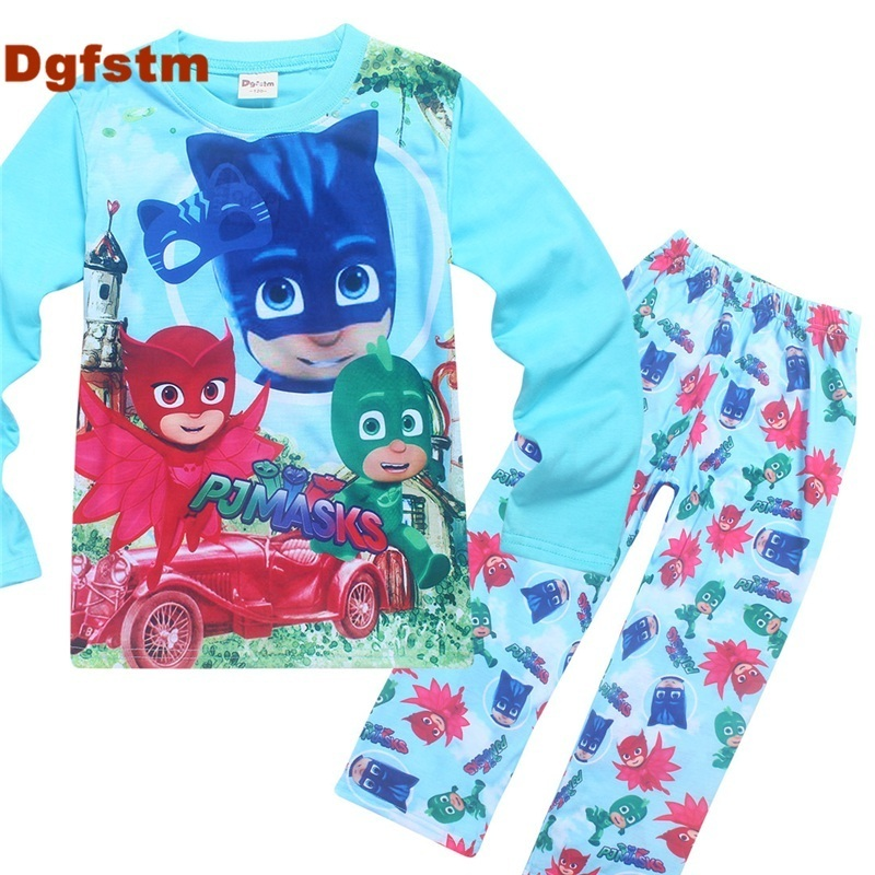 DGFSTM PJ MASKS Baby Boys Clothing Set 2017 Girls Clothing Sets Autumn Long Sleeve T-shirt and Pant Suit Winter Boy Clothes Sets winter autumn baby girls clothing sets cartoon dog long sleeve wweatshirts pant fleece newborn baby suits baby boys clothing set