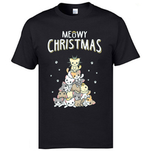 Meowy Christmas Tree Cat Funny Tshirts Santa Xmas Pug Men Round Neck Tops & Tees Short Sleeve Sweatshirts Europe T-shirts