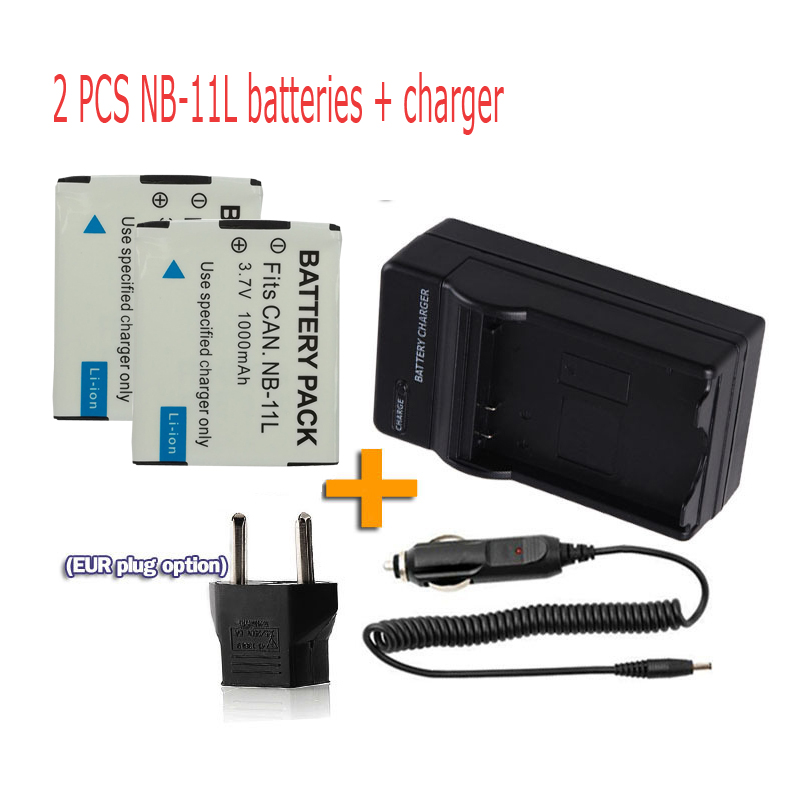 2 Pack Replacement for Canon S90 Battery Charger with Car /& EU Adapters Compatible with Canon NB-6L Digital Camera Battery and Charger 1000mAh, 3.7V, Lithium-Ion