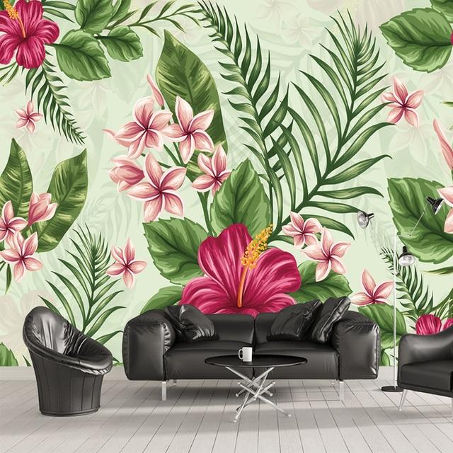 Custom Mural Wallpaper Hand Painted Tropical Rainforest Plant Flowers Banana Leaves Living Room Bedroom Wall Art