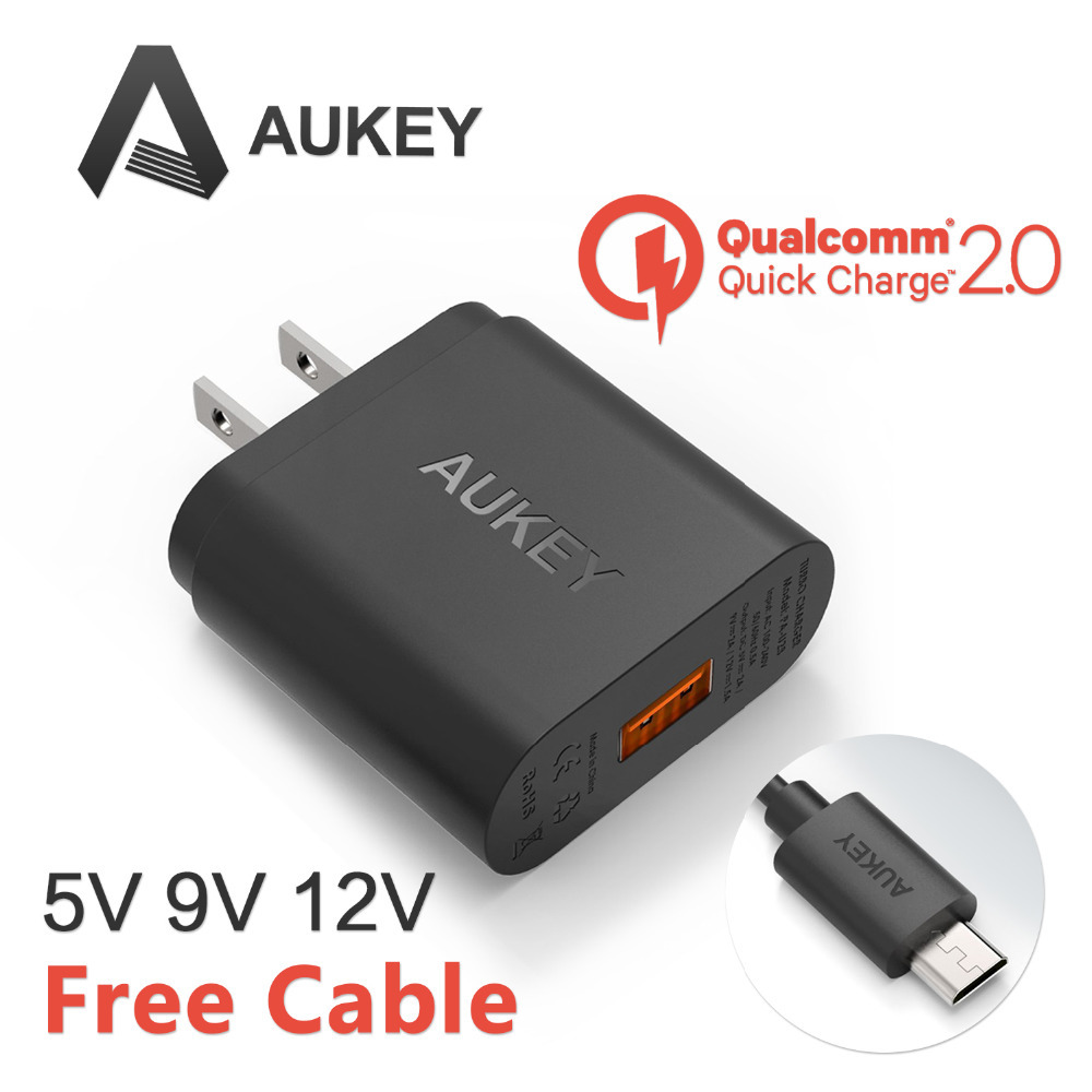 [Qualcomm Certified] Aukey Quick Charge 2.0 18W USB Turbo Wall Charger Fast Charger For SAMSUNG