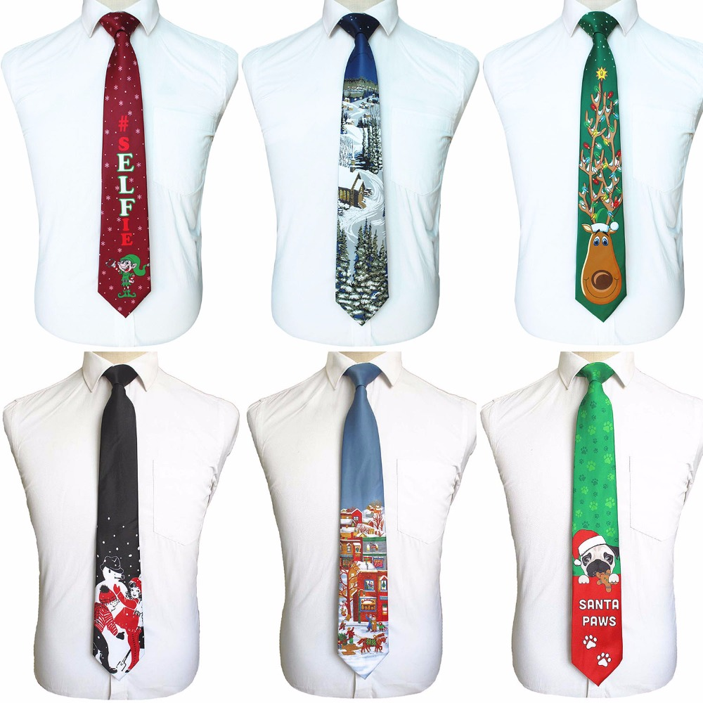 GUSLESON Quality Print Christmas Tie Men's Fashion 9cm Silk Neckties Helloween Festival Tie Soft Designer Character Necktie Gift