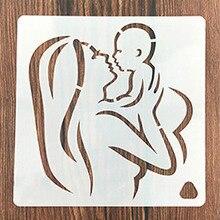 Mom Kiss Newborn Baby Stencils for DIY Scrapbooking Plastic Handmade Template Crafts Art Diary Decor Painting Spray Tool Card cool spider web stencils template design for scrapbooking background reusable plastic spray paint stencils for diy