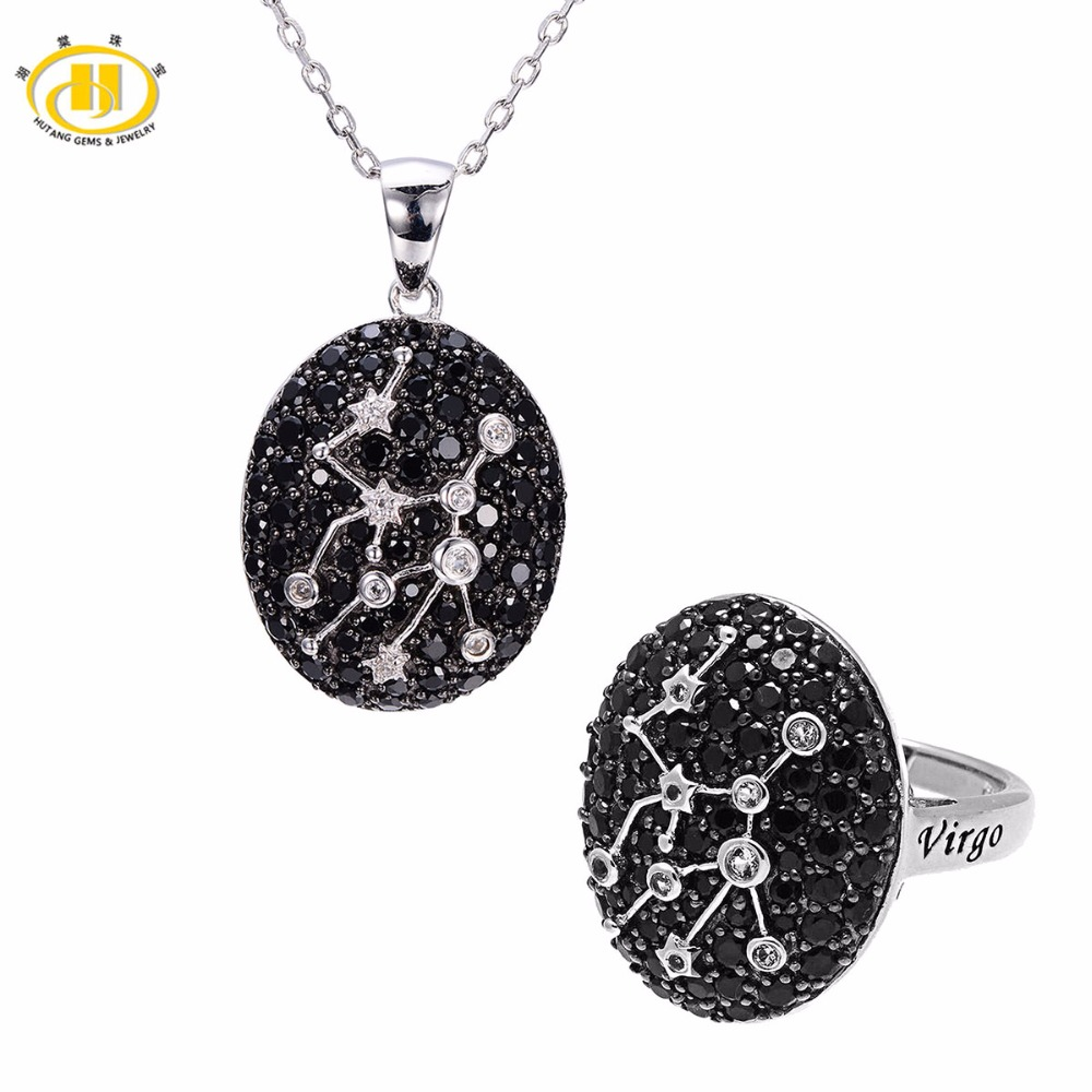 Здесь можно купить  Hutang Virgo Jewelry Sets Black Spinel Pendant Ring 925 Silver Sign Natural Gemstone Jewelry for Women 23th Aug Until 22th Sep  Ювелирные изделия и часы