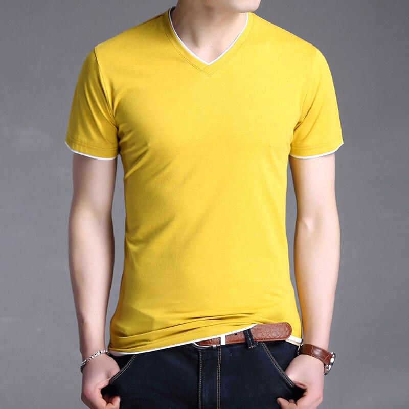 2020 New Fashion Brand T Shirt Men V Neck Solid Color Trends Streetwear Tops Summer Cotton Short Sleeve T-Shirt Mens Clothing