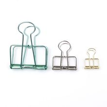 1Pc UsefulSolid Color Hollow Out Metal Binder Clips Notes Letter Paper Clip Office Supplies Students stationery