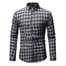 New Autumn Fashion Brand Men Clothes Slim Fit Long Sleeve Shirt Plaid Cotton Casual Social Plus Size M-3XL 6