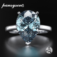 PANSYSEN New Classic 10x14mm Light Blue Natural Aquamarine Rings for Women 100% Real Sterling Silver 925 Jewelry Ring Size 5 12