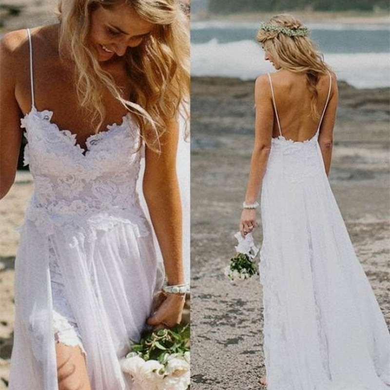 top selling spaghetti strap beach boho cheap bohemian lace front short long back wedding dress gown