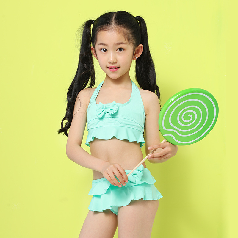 Swimsuit Female baby New Contrast Color Beachwear Bikini Girl Teenage Patchwork Two-Pieces Bathing Suit Childs Swimwear