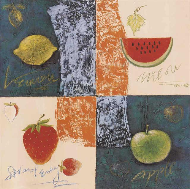 Fruit Lemon Watermelon Strawberry Modern Decorative Painting