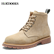 High Quality Leather Men Boots Winter Waterproof Suede Ankle Martin Outdoor Working Snow Shoes