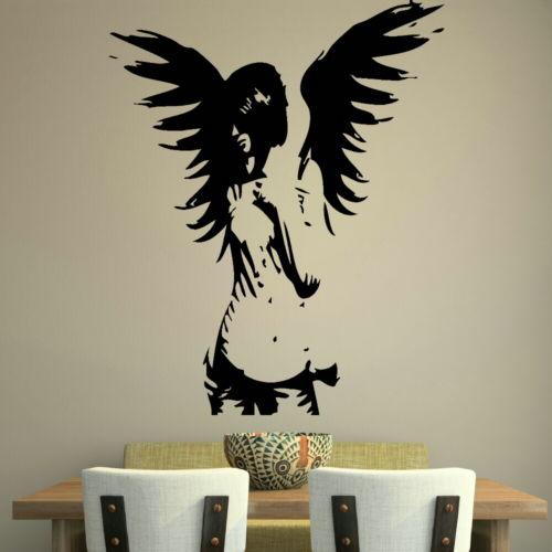 Large Angel Fairy Wall Sticker / Big Girl Wall Decal / Angel Wall Transfer DIY Wall & Nordic Style Tropical rain forest Flamingos Landscape Animal Mural ...