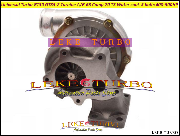 Turbo Turbocharger Universal Turbo GT30 GT35-2 AR .63 Comp. AR .70 T3 Water cooled and Oil cooled outlet 5 bolts 400HP-500HP (5)