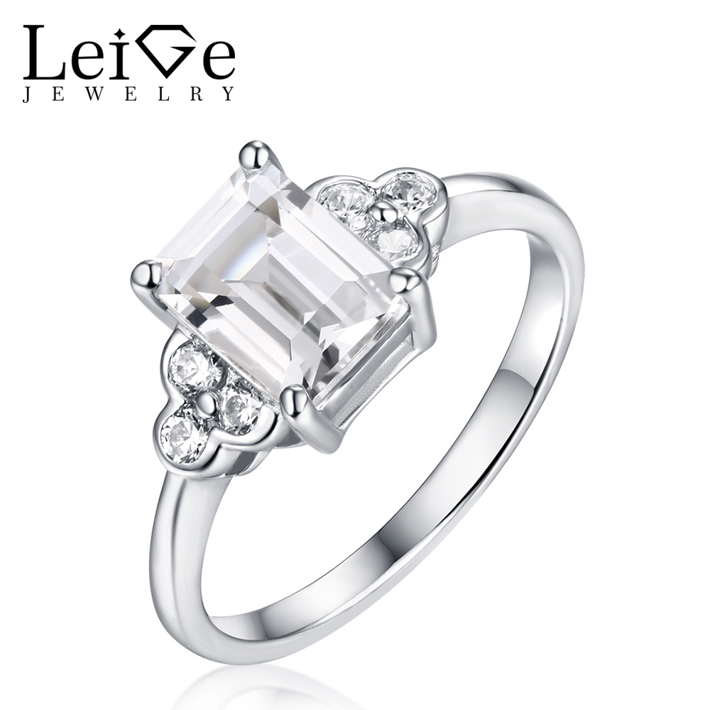 Leige Jewelry Natural White Topaz Rings for Women 925 Sterling Silver Emerald Cut Wedding Ring Fine Jewelry Christmas GiftLeige Jewelry Natural White Topaz Rings for Women 925 Sterling Silver Emerald Cut Wedding Ring Fine Jewelry Christmas Gift