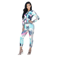 Two Piece Set Top and Pants Autumn Casual Digital Geometric Print Color Sports Suit Matching Sets Club Outfits Jogging Femme New geometric print knot back top with pants