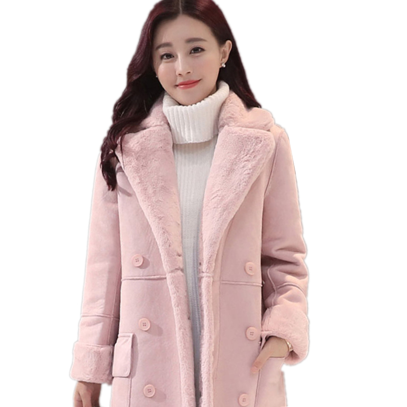New Winter Women lamb fur Coat thickened   suede   in the long wool coat Warm Outer layer Thickening Cold resistane Outwear LXT 26