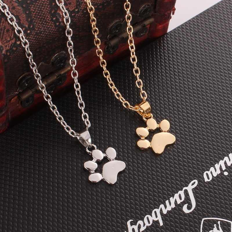 2018 Trendy Necklace For Women Girls Hollow Pet Paw Footprint Necklaces  Animal Dog Cat Cute Pendant Jewelry Necklace Lover Gift