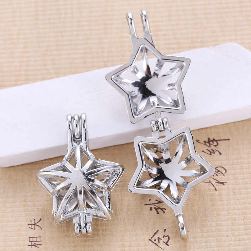 5pcs Bright Silver Five-Pointed Star Pearl Cage Pendant Jewelry Aromatherapy Oil Diffuser DIY Necklace Oyster Pearl Fun Gift