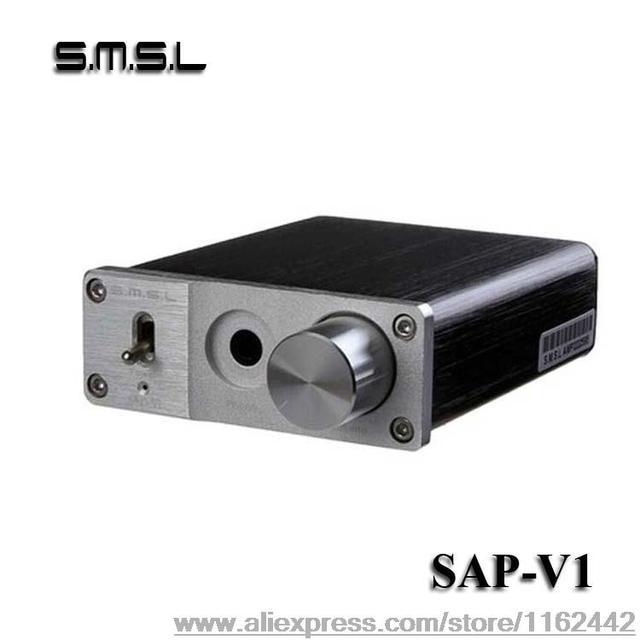 SMSL sApVI MINI Portable Hifi Headphone Amplifier AMP Aluminum Stereo Earphone Amplifier 96KHZ/16/24BIT Black with Power Adapter