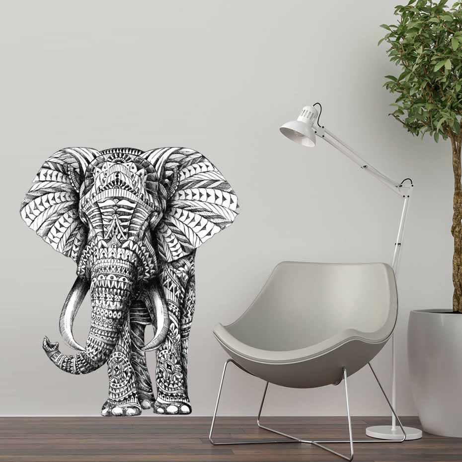 Слон животное стикер на стену абстрактный дизайн ретро-наклейки декорация на стену в спальню виниловые самоклеющиеся водоотталкивающие обои домашний декор