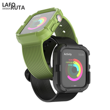Laforuta Soft Silicone Case Strap for Apple Watch Series 4 Sport Duty Shockproof Band IWatch 44mm 40mm with Protective