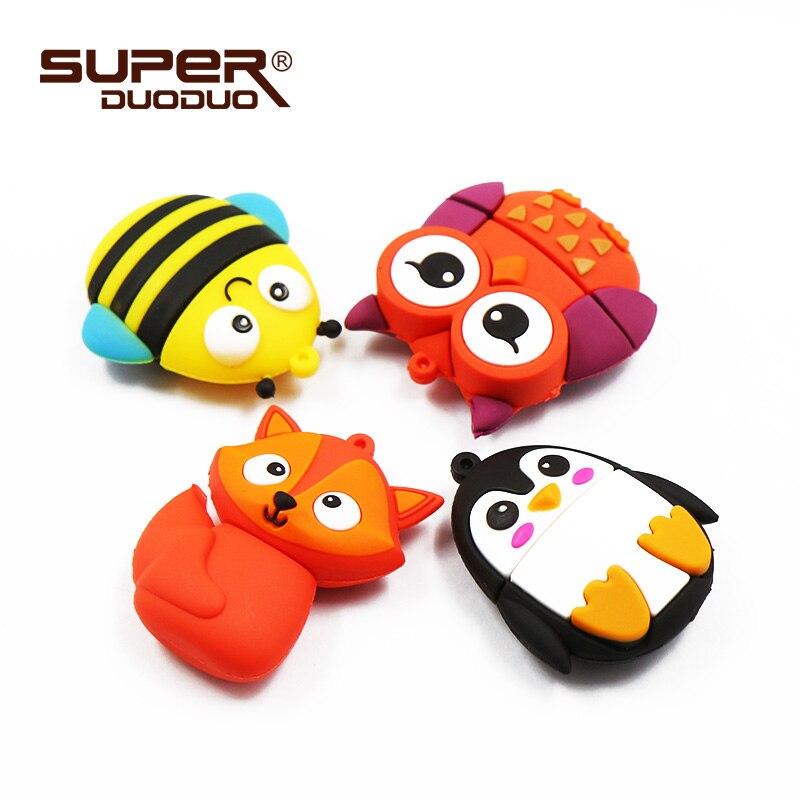 Clé USB Hibou, Renard, Pingouin et Abeille 4/8/16/32/64/128 GB